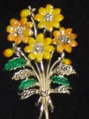 Small Yellow Flower Brooch - 1960's Era - signed Exquisite (SOLD)